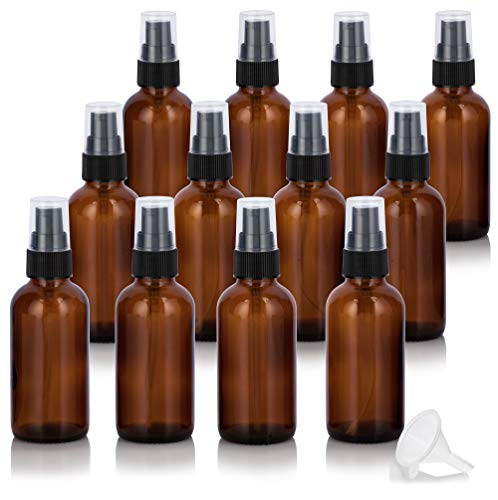 2 oz Amber Glass Boston Round Treatment Pump Bottle (12 pack) + Funnel for essential oils, aromatherapy, food grade, bpa free