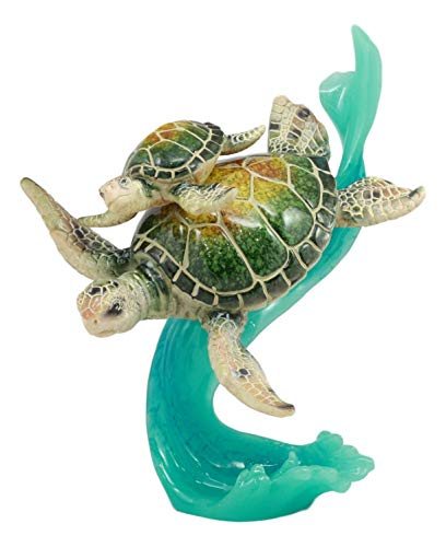 (Ebros Large Marine Ocean Giant Sea Turtle With Hatchling Statue 7.5
