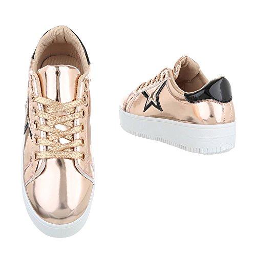 Ital-Design Low-Top Sneaker Damenschuhe Low-Top Sneakers Schnürsenkel Freizeitschuhe Rosa Gold
