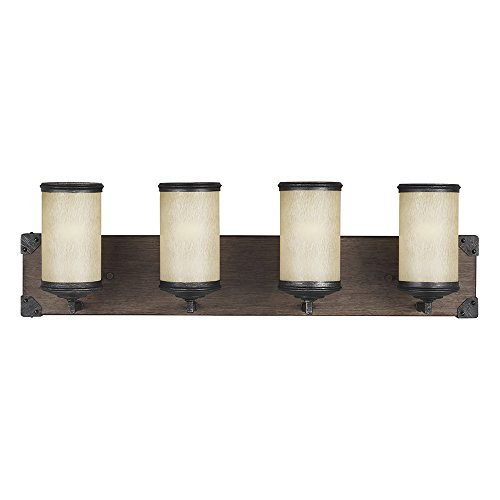 Sea Gull Lighting 4413304-846 Dunning Four-Light Bath or Wall Light Fixture with Creme Parchment Glass Shades, Stardust Finish
