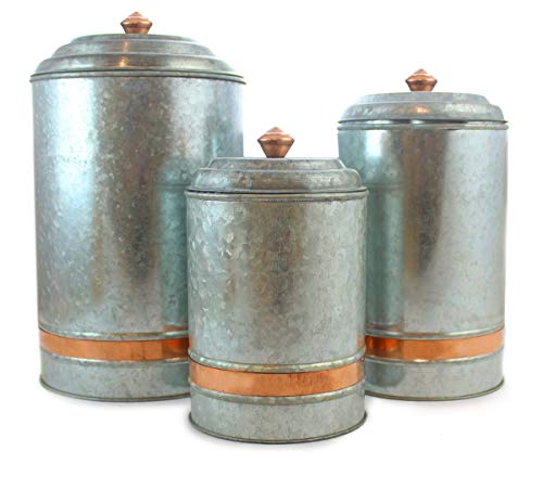 Galvanized Canisters Farmhouse Rustic Metal Set of 3 Flour Sugar Container Canister Kitchen Single Copper Band, 6 Liter, 3 Liter, and 2 Liter by Well Pack Box