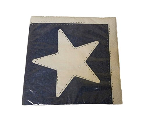 Patriotic Napkins Blue with Large White Star Paper