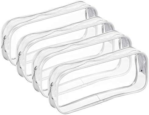 Bolonbi - Estuche transparente para lápices (4 unidades, con cremallera), transparente, color blanco: Amazon.es: Oficina y papelería