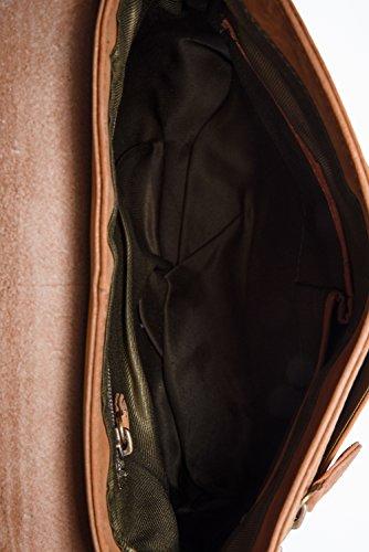 LEABAGS Fortaleza Umhängetasche aus echtem Büffel-Leder im Vintage Look - Braun Braun