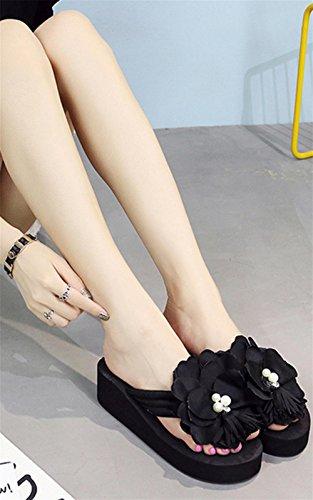 pengweiSandalias de verano para se?oras espesamiento de las suelas de los pies del clip zapatillas frescas Flores zapatillas de playa sandalias 3