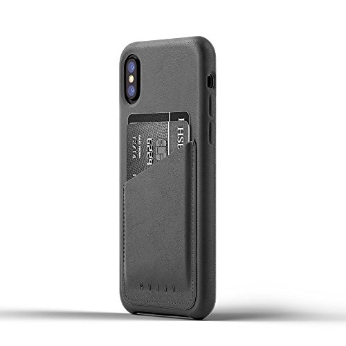 Mujjo Full Leather Wallet Case compatible with iPhone XS, iPhone X | 2-3 Card Pocket, 1MM Protective Screen Bezel, Japanese Suede Lining (Grey)