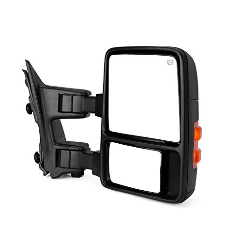 Maxiii Passenger Right Side Tow Mirrors Compatible for Ford F250 F350 2008-2016 Super Duty, Manual Fold Side Tow Mirrors, Power Adjusted Plane Mirror, Amber Turn Signal, Heated Defrost