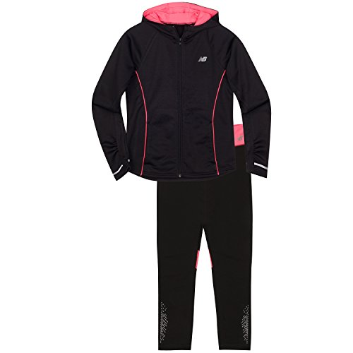 New Balance Little Girls' Hooded Jacket and Tight Sets, Black/Guava, 4 - Guava Set