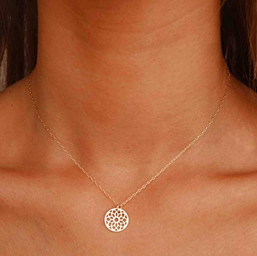 Flower Of Life Necklace - Gold Disc Necklace - Gold Filigree Pendant - Gold Filled Necklace - Minimal Gold Necklace - Dainty Gold Necklace