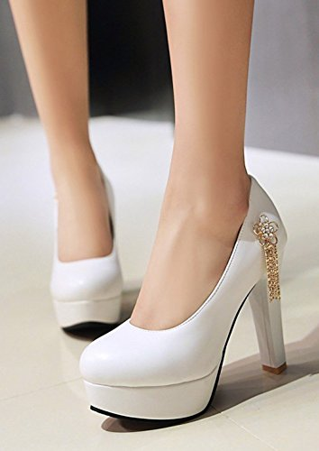 Aisun Womens Rhinestone Chain Low Cut Chunky High Heel Dressy Round Toe Slip On Platform Pumps Shoes White YBqGUAfEO