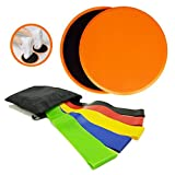 SIUONI Core Sliders 2 5 Exercise Resistance Loop Bands Abs Fitness Total Body, Impact Exercises Home Equipment