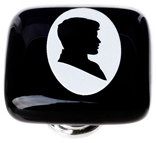 Sietto K-1163-ORB New Vintage Square Woman Cameo Knob with Oil Rubbed Bronze Base, Black