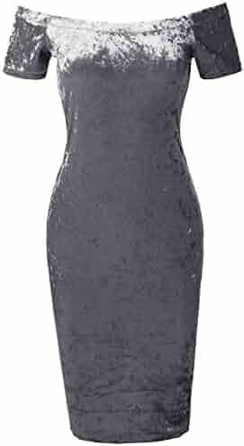 5bba758072a Made by Emma Women s Sexy Solid Sleeveless Ice Velvet Body-Con Midi Dress