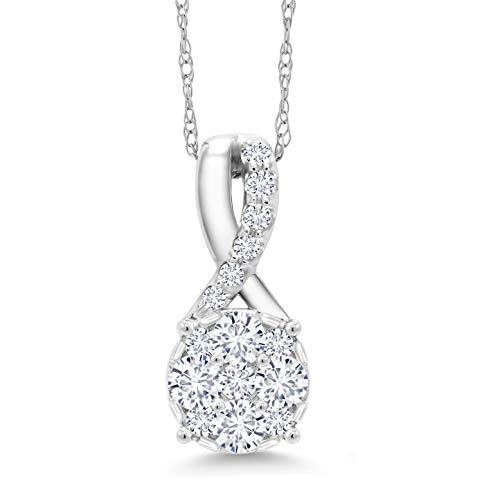 Gem Stone King White Lab-Grown Diamond Cluster 10K White Gold Pendant (.33 Ct, VS2-SI1, G-H)