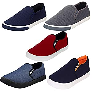 Axter Men's Multi-Coloured Canvas Casual Shoes/Loafers/Moccasins – Pack of 5 (Combo-(5)-1017-1018-1058-761-486)
