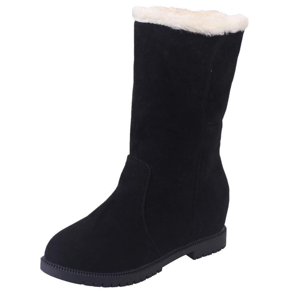 ZHRUI Botas Zapatos de Mujer Botines Botas Botas Botas de Gamuza de Mujer Cuñas de Punta Redonda Calzados Informales Botas de Color Puro Botas de Mujer cálidas Botas de Invierno 491e26