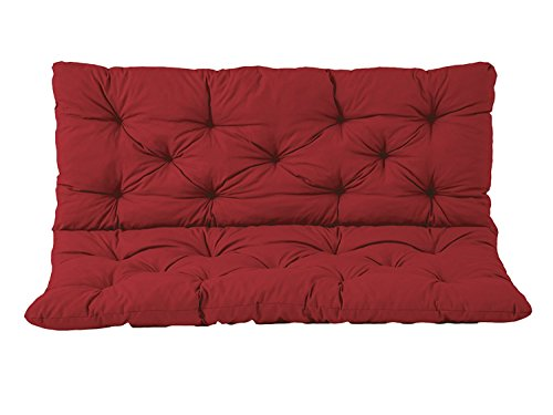 IRA Furniture HANKO 2 Seater Garden Bench Cotton Padded Low Back Cushion (Red,150 x 98 x 8 cm)