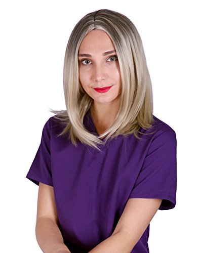 [HDE Women's Blonde Wig Shoulder Length 2 Toned Synthetic Hair for Halloween Costume Cosplay Party] (Piper Chapman Costume)