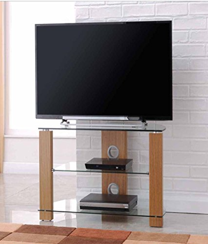 TNW Vision Oak 600 Corner TV Stand with Clear Glass