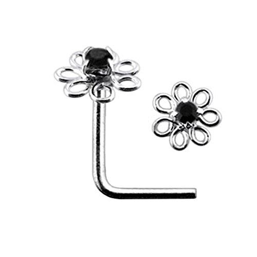 AtoZ Piercing Black Jeweled Filigree Flower Top 22 Gauge Silver L Shape - L Bend Nose Stud Nose Pin