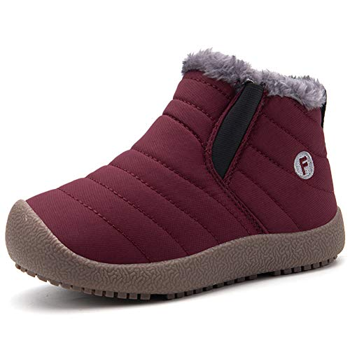 CIOR Boy's Girl's Snow Boots Fur Lined Winter Outdoor Slip On Shoes Boots-T.wine-33 -