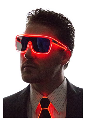 Neon Nightlife Red Frame/ Tinted Single Lens Tron Style Light Up - In Lenses Sunglasses Replace