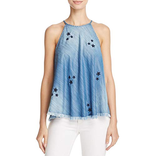 Bella Dahl Womens Star Halter Chambray Casual Top Blue M
