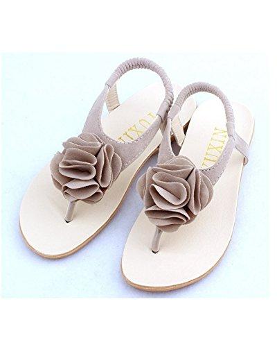 DAYAN Mädchen Sandalen Schuhe für Mädchen Flip Flops Sommer-Kind-Schuh-Mädchen-Blumenprinzessin Sandalia Infantil Schuhe Farbe beige Größe 31 BFEo8aJ