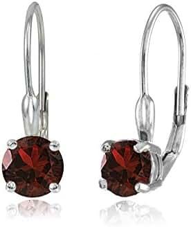 Sterling Silver Genuine or Created Gemstone 6mm Round Leverback Earrings