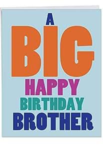 Amazon Big Happy Birthday Brother Greeting Card With