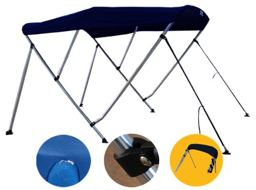 Brightent Navy Blue Bimini Top Have Free Clips 73''-78'' Width 3 Bow Boat Canopy Cover 6 ft Long Support Poles XB3N3 by Brightent-Bimini Tops