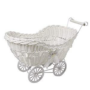 SAFRI® LARGE BABY PRAM HAMPER WICKER BASKET BABY SHOWER PARTY GIFTS BOYS GIRLS NEW BORN (White)