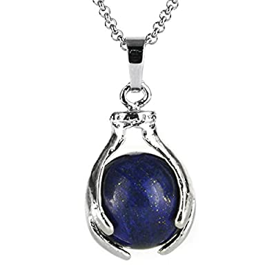 "BEADNOVA Healing Gemstone Necklace Crystal Ball Pendant Necklace with Stainless Steel Chain 18"" Gift Box Packing"