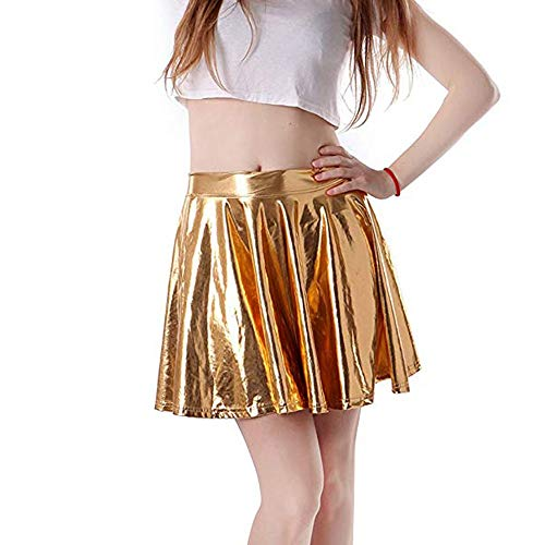 Womens A-Line Skirts,Beautyfine Fashion Leather Flared Pleated Circle Costume Skater Dance Skirt Gold