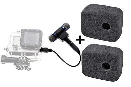 3.5mm Stereo Mic for GoPro Microphone Mic Adaptor Adapter for Go Pro Hero 3 Hero 3+ Hero 4 / and for Android Iphone Computers Tablets and 2 Windslayer Wind Noise Reduction Foam Bundle by SublimeWare