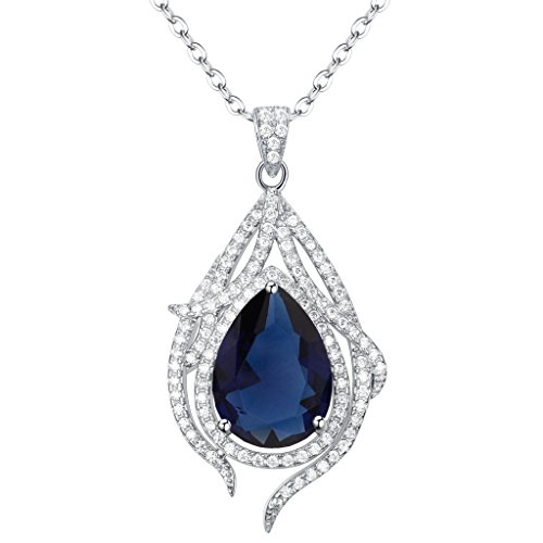 EleQueen 925 Sterling Silver Cubic Zirconia Teardrop Peacock Feather Bridal Pendant Necklace Sapphire Color
