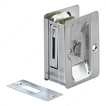 Onward ORH1701 Steel Pocket Door Privacy Lock Rectangular Handle For  Sliding Doors (Brushed Chrome)