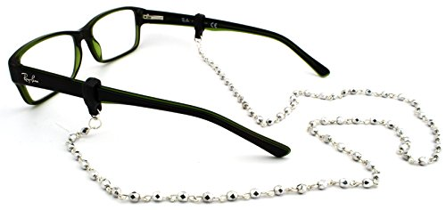Peeper Keepers Czech Beads & Chains, Eyeglass Retainer, Silver w/Silver Chain, 1pk, w/Cloth & Screwdriver