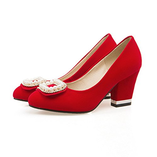 VogueZone009 Damen Nubukleder Mittler Absatz Rund Zehe Rein Ziehen auf Pumps Schuhe Rot