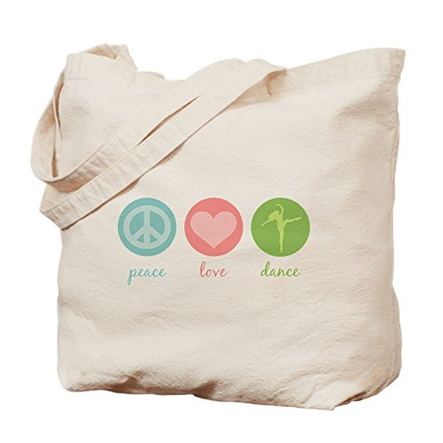 CafePress Peace, Love &Amp; Dance Natural Canvas Tote Bag, Cloth Shopping Bag