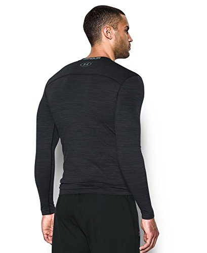Under Armour Men's ColdGear Armour Twist Compression Crew, Black/Steel, Small by Under Armour (Image #1)