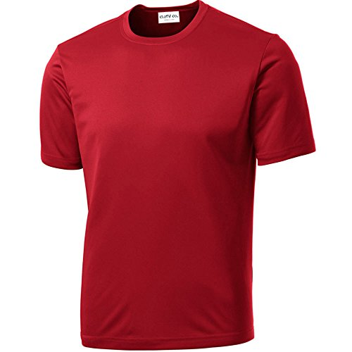 Clothe Co. Mens Short Sleeve Moisture Wicking Athletic T-Shirt, True Red, L
