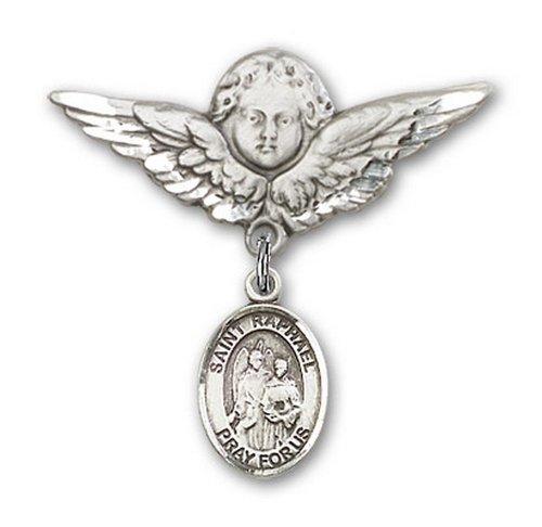 Icecarats Créatrice De Bijoux En Argent Sterling St. Raphael Le Charme Ange Archange Broche De Badge 1 1/8 X 1 1/8
