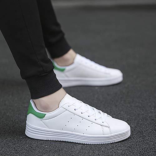 Confort Green Y Deporte Ligera Zapatillas Al De Redonda Blanco Aire Punta Suela Noche White Zapatos Negro Libre verde Blanco Unisex Cuero Otoño Para blanco Fiesta Zhznvx q4T0z