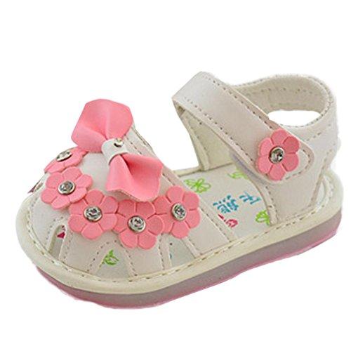 Igemy 1 Paar Kinder Bowknot Mädchen Blume Prinzessin Mode einzigen Schuhe Sommer Mädchen Sandalen Weiß