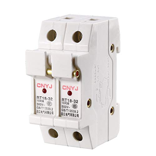 uxcell DIN Rail Mount Fuse Holder 2 Pole RT18-32 10mmx38mm with Indicator Light White ()