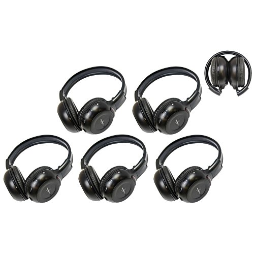 5 Pack of Two Channel Folding Adjustable Universal Entertainment System Infrared Headphones 5 Additional 48