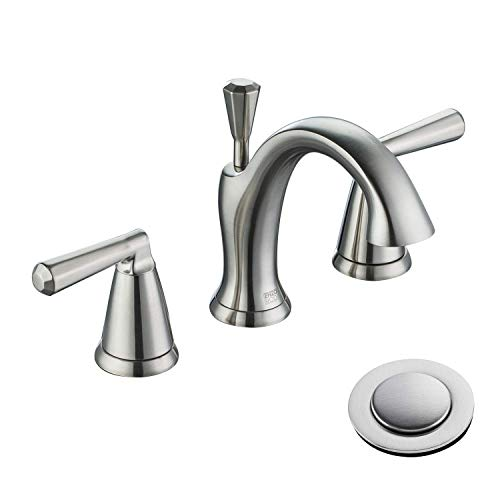 ENZO RODI Two-handle Low-arc Solid Brass Widespread Bathroom Faucet with Ceramic Valve and Full-copper Lift Pop Up Drain Assembly, Brushed Nickel, UPC/AB 1953/NSF Certified, ()