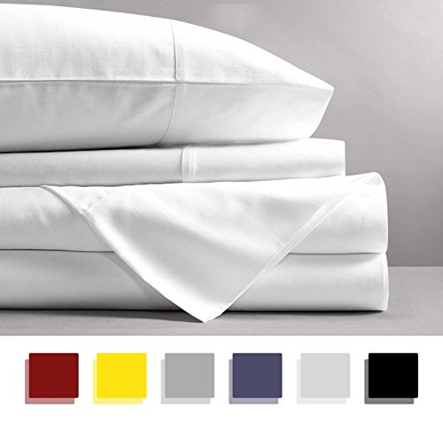 600 Thread Count 4-Piece 100% Cotton Sheets - White Long-staple Cotton Queen Sheets, Fits Mattress Upto 18'' Deep Pocket, Sateen, Soft Cotton Bed Sheets and Pillowcases