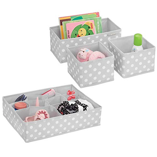 (mDesign Soft Fabric Dresser Drawer and Closet Storage Organizer Set for Child/Kids Room, Nursery - Includes Large and Small Organizers - Polka Dot Print - Set of 4 - Light Gray/White)